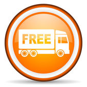 Free delivery orange glossy icon on white background — Stock Photo