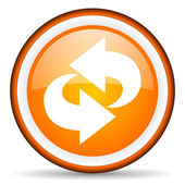 Rotate orange glossy icon on white background — Stock Photo