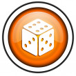 Dice orange glossy icon isolated on white background — Stock Photo