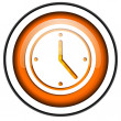 Stock Photo: Clock orange glossy icon isolated on white background
