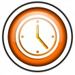 Clock orange glossy icon isolated on white background — Stock Photo #18172031