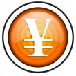 Yen orange glossy icon isolated on white background — Stock Photo