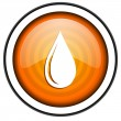 Water drop orange glossy icon isolated on white background - Stock Photo