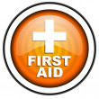 Stock Photo: First aid orange glossy icon isolated on white background