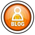 Blog orange glossy icon isolated on white background — Stock Photo