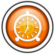 Stock Photo: Alarm clock orange glossy icon isolated on white background