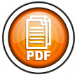 Pdf orange glossy icon isolated on white background — Stock Photo