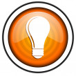 Light bulb orange glossy icon isolated on white background — Stock Photo