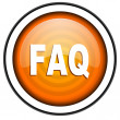 Faq orange glossy icon isolated on white background — Stock Photo
