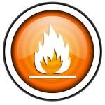 Flames orange glossy icon isolated on white background — Stock Photo #18172497