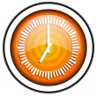 Clock orange glossy icon isolated on white background — Stok Fotoğraf #18172515