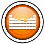 Sound orange glossy icon isolated on white background — Stock Photo