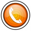 Foto de Stock  : Phone orange glossy icon isolated on white background
