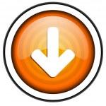 Arrow down orange glossy icon isolated on white background — Stock Photo #18172755