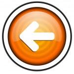 Arrow left orange glossy icon isolated on white background — Stock Photo #18172765
