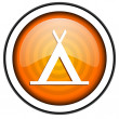 Camping orange glossy icon isolated on white background — Stockfoto