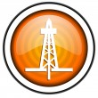 Drilling orange glossy icon isolated on white background — Stock Photo