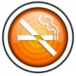 Stock Photo: No smoking orange glossy icon isolated on white background