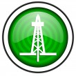 Stock Photo: Drilling green glossy icon isolated on white background