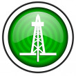 Drilling green glossy icon isolated on white background — Stock Photo