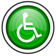 Accessibility green glossy icon isolated on white background — Stock Photo #18173343