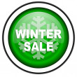 Stock Photo: Winter sale green glossy icon isolated on white background