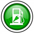 Fuel green glossy icon isolated on white background — Stock Photo