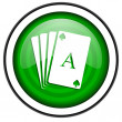 Playing cards green glossy icon isolated on white background — Stock Photo