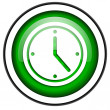 Clock green glossy icon isolated on white background — Stock Photo
