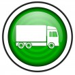 Delivery green glossy icon isolated on white background — Stock Photo