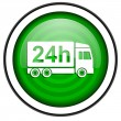 Delivery 24h green glossy icon isolated on white background — Stock Photo