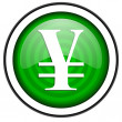Yen green glossy icon isolated on white background — 图库照片
