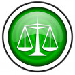 Justice green glossy icon isolated on white background — Stock Photo