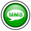 Stock Photo: Mms green glossy icon isolated on white background