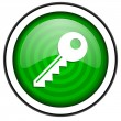 Key green glossy icon isolated on white background — Stock Photo