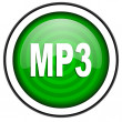 Mp3 green glossy icon isolated on white background — Stock Photo