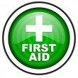 Stock Photo: First aid green glossy icon isolated on white background