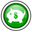 Piggy bank green glossy icon isolated on white background — Stock Photo