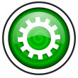 Gears green glossy icon isolated on white background — Stock Photo #18173887