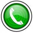 Phone green glossy icon isolated on white background — Stock Photo