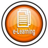 E-learning orange glossy icon isolated on white background — Stock Photo