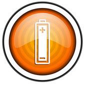 Battery orange glossy icon isolated on white background — Stock Photo