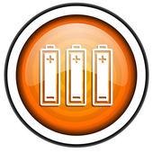 Batteries orange glossy icon isolated on white background — Stock Photo