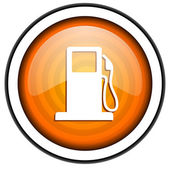 Fuel orange glossy icon isolated on white background — Stock Photo