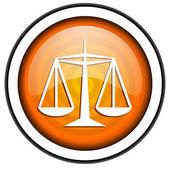 Justice orange glossy icon isolated on white background — Stock Photo