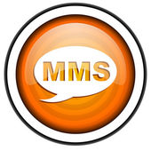 Mms оранжевый блестящий значок, изолированные на белом фоне — Стоковое фото