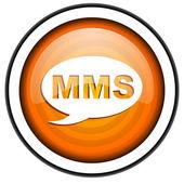 Mms oranžové lesklé ikona izolovaných na bílém pozadí — Stock fotografie