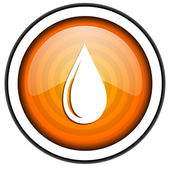 Water drop orange glossy icon isolated on white background — Stock Photo