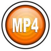 Beyaz arka plan üzerinde izole mp4 turuncu parlak simgesi — Stok fotoğraf