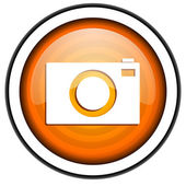 Camera orange glossy icon isolated on white background — Stock Photo